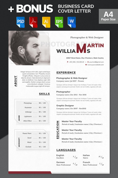 Martin Williams  Photographer  Web Designer Resume Template