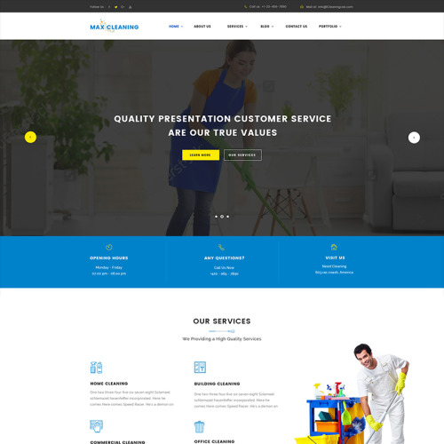 Max Clean - Cleaning Company - WordPress Template based on Bootstrap