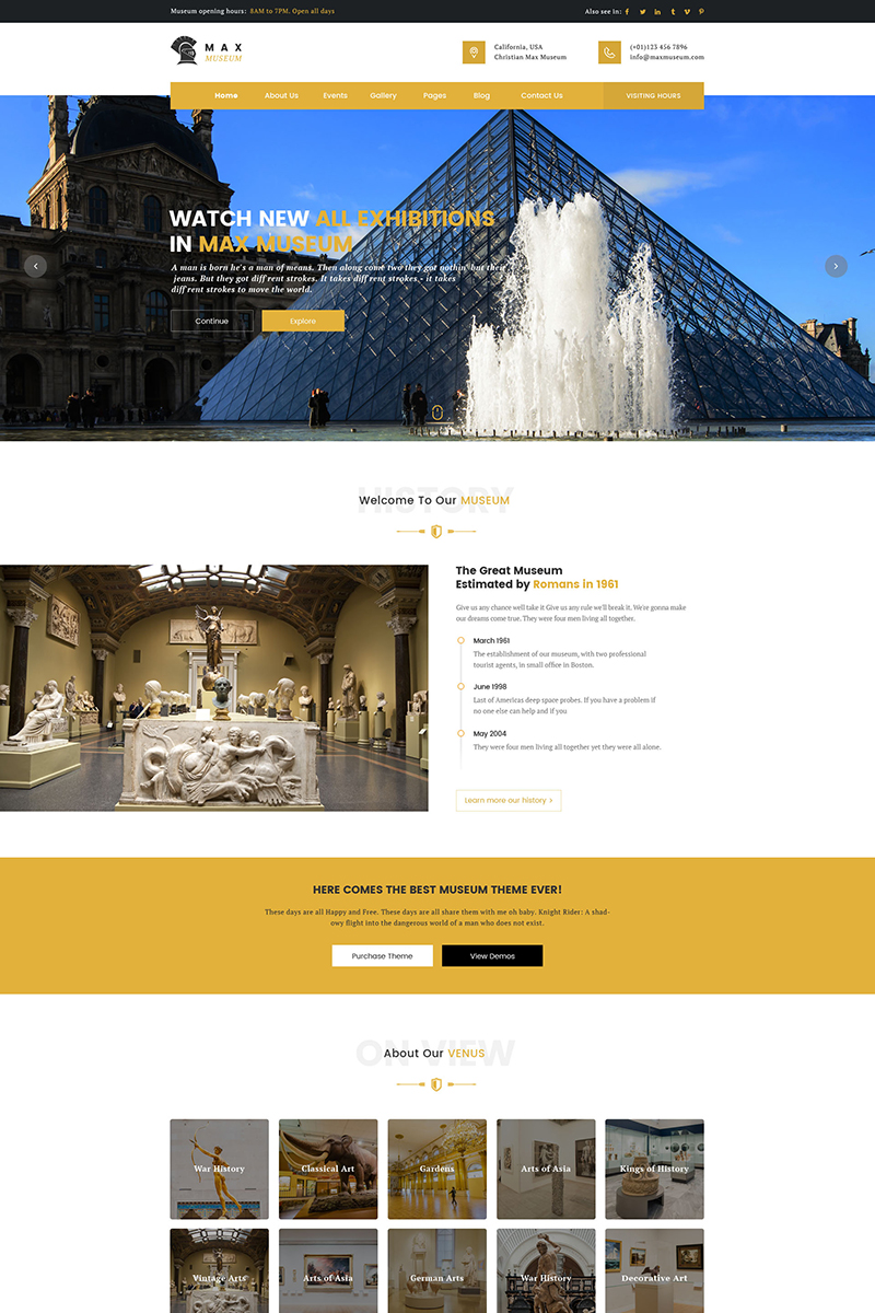 Max Museum - WordPress Theme for Museums WordPress Theme - screenshot