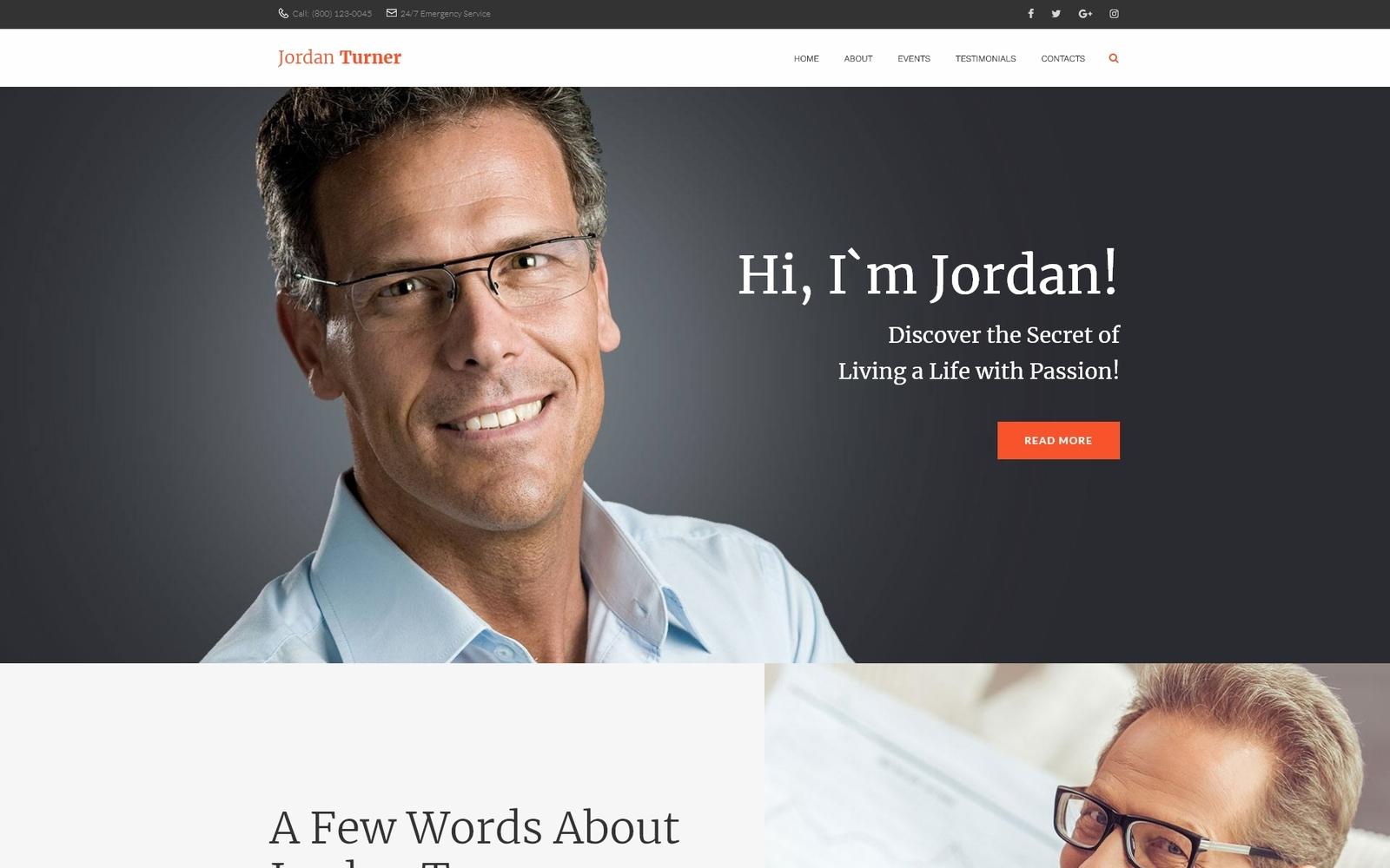 "Modello WordPress Responsive #65690 ""Jordan Turner - Life Coaching"""