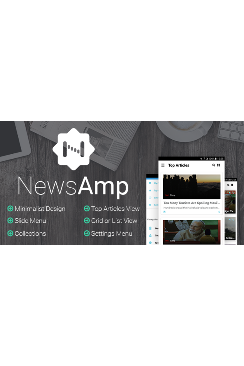 """NewsAmp - Android News"" modèle d'application adaptatif #65695"