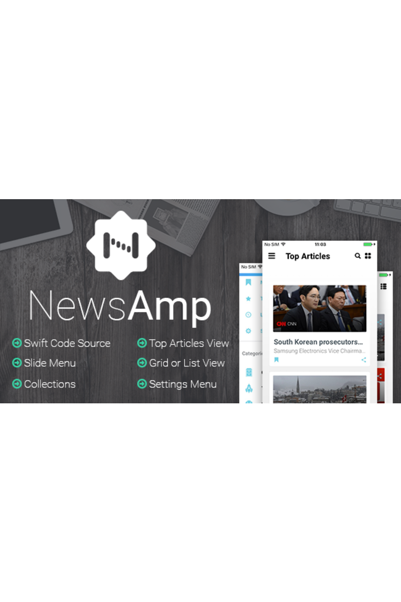 """NewsAmp - Swift News"" modèle d'application  #65694"