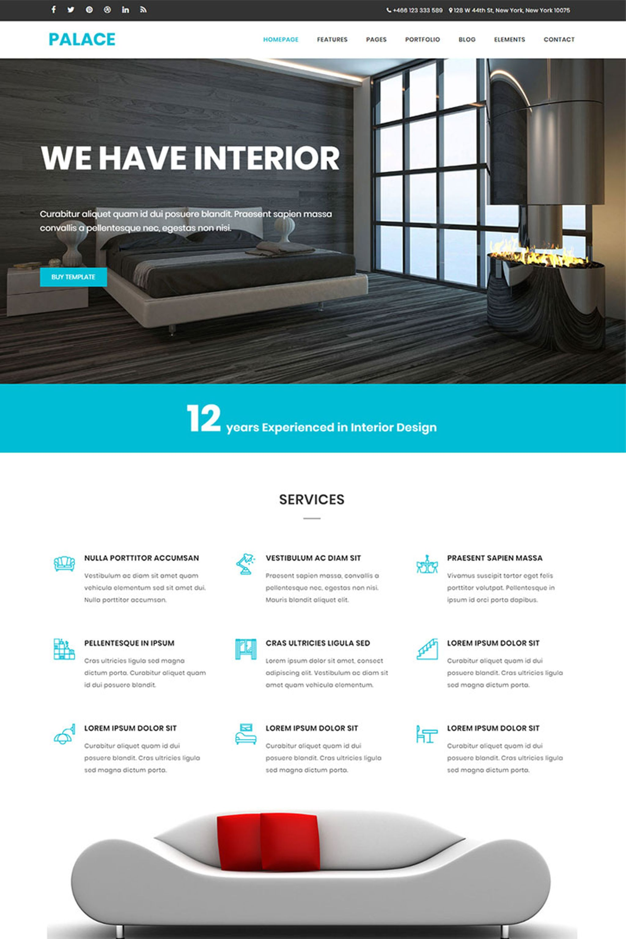 """Palace - Interior & Architecture HTML5 Bootstrap"" Responsive Website template №65644"