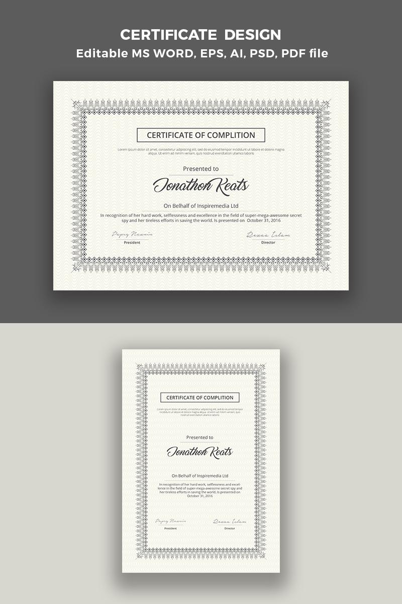 """Plantilla De Certificado """"Certificate Print Template"""" #65668"""