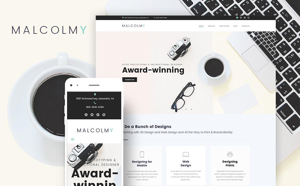 Responsywny motyw WordPress MalcolmY - darmowy motyw WordPress dla portfolio projektanta #65673 - zrzut ekranu