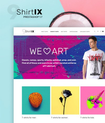 Responsywny szablon PrestaShop #65612 na temat: sklep z koszulkami