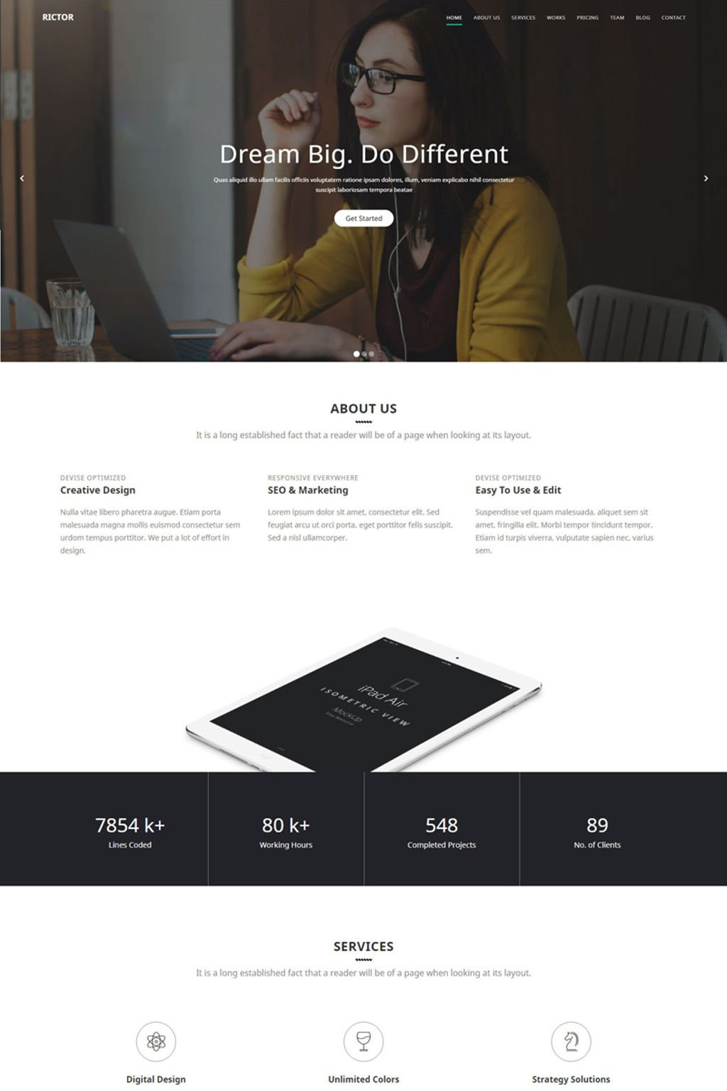 """""""Rictor - Responsive HTML5 Business & Agency Template"""" 响应式网页模板 #65678"""