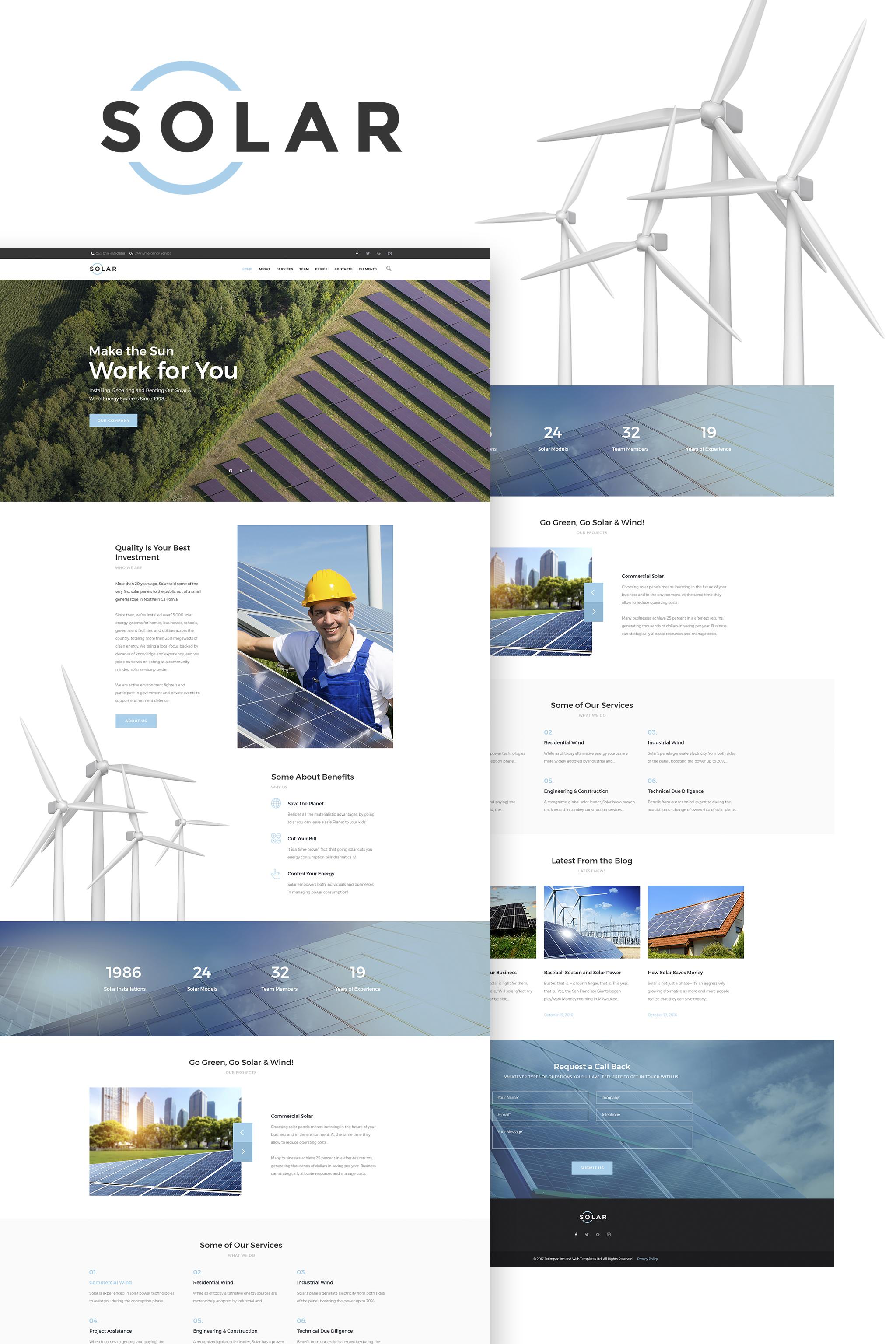 """Solar - Alternative Energy Company WordPress Theme"" Responsive WordPress thema №65623"