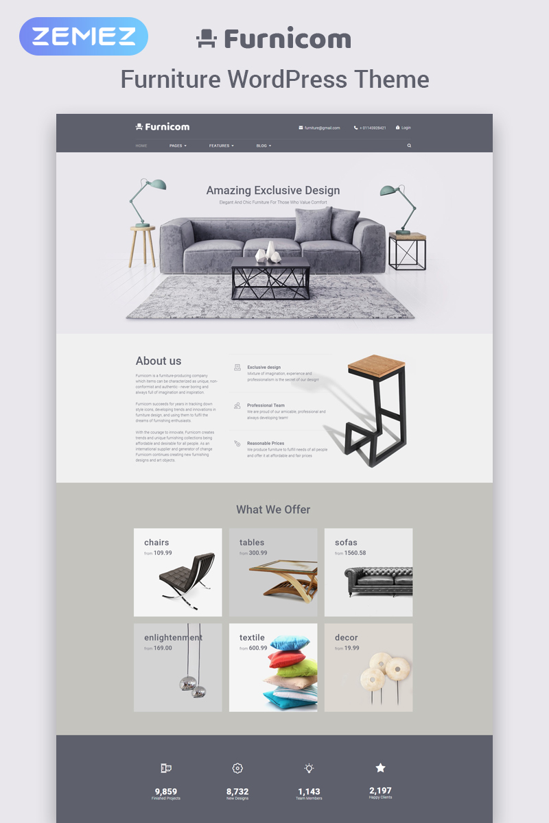 "Tema De WordPress ""Furnicom - Furniture Store"" #65625"