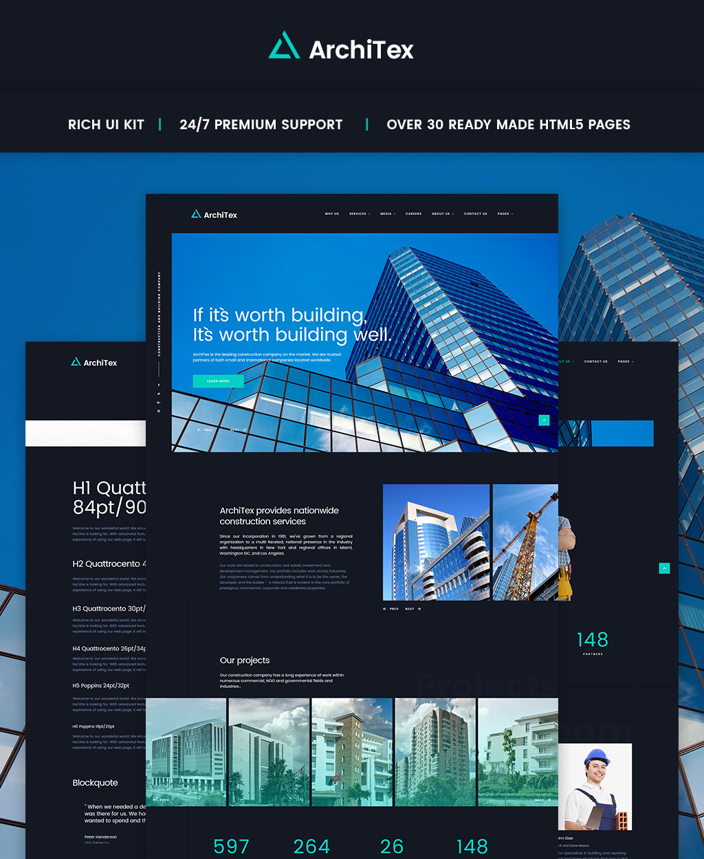"Tema Siti Web Responsive #65622 ""Construction Company HTML Responsive"""