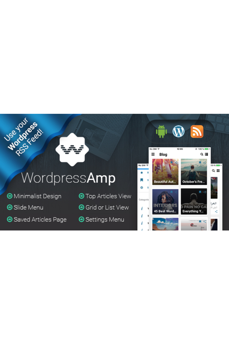 """WordpressAmp - Android News"" modèle d'application adaptatif #65696"
