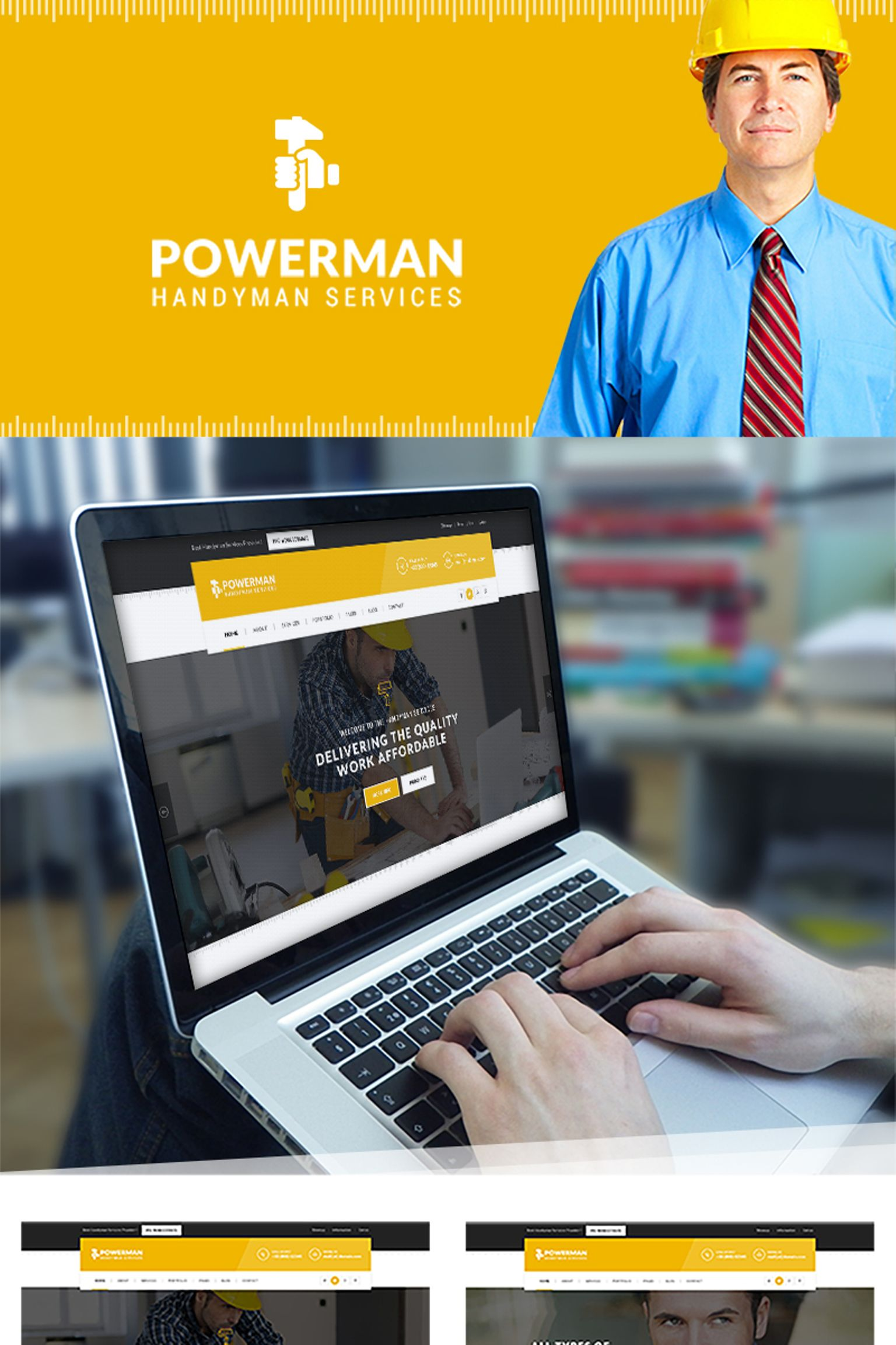 Website Design Template 65725 - handyman building delivery renovation plumber roofing repair construction carpenter maintenance cleaning electricity