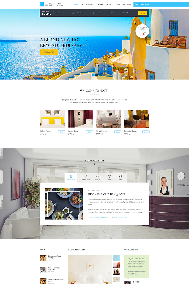 Website Template 65731 Accommodation Apartment Guesthouse Custom Design Templates