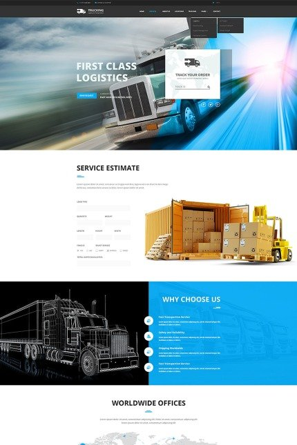 Website Design Template 65767 - transportation delivery bootstrap responsive website logistic service