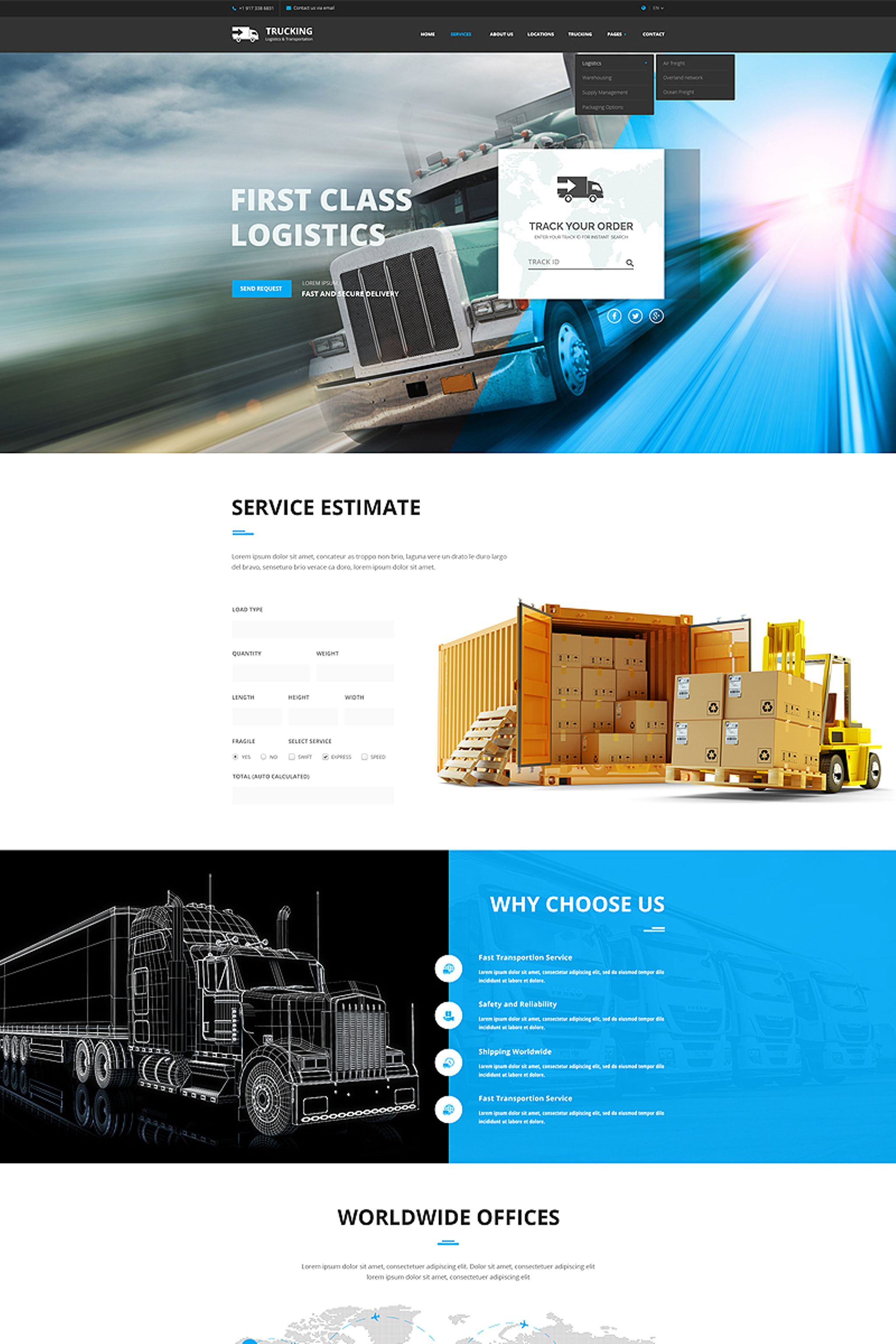 Website Design Template 65767 - trucking transportation delivery bootstrap responsive website logistic service