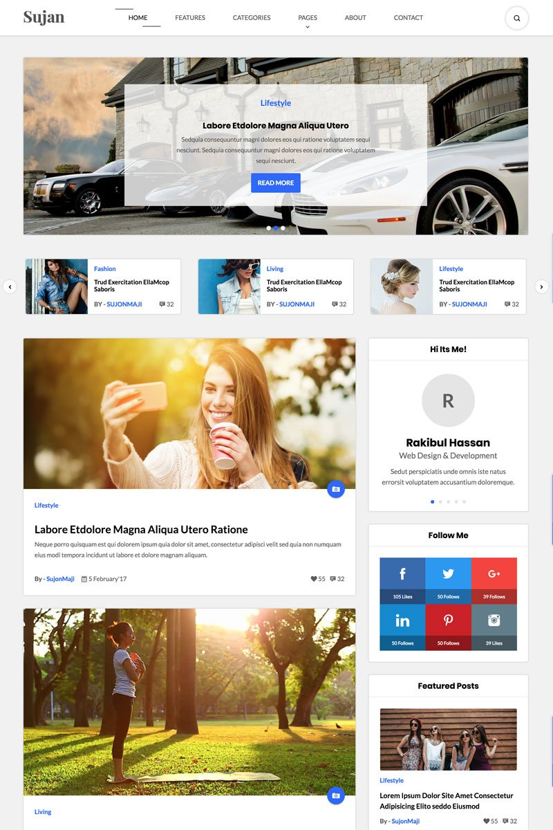 Website Design Template 65769 - blog simple html template