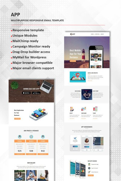 App  Multipurpose Responsive Newsletter Template