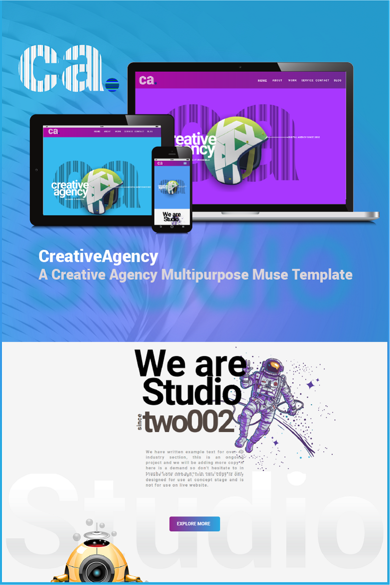 """Creative Agency"" Responsive Muse Template №65771"