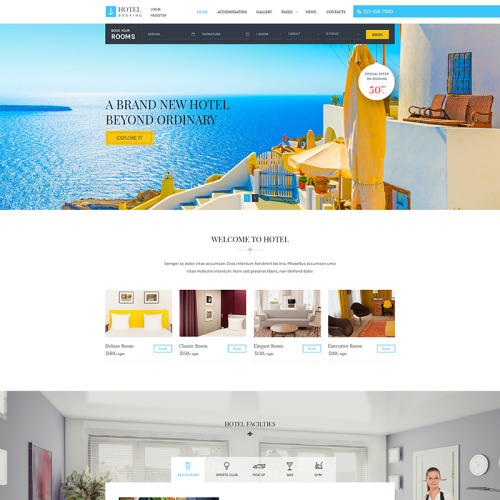 Hotel Booking - WordPress Template based on Bootstrap