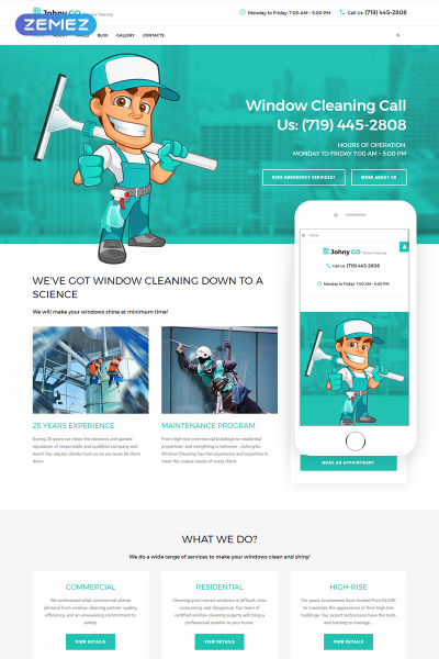 "Joomla Vorlage namens ""Pure Glass - Window Cleaning Services"" #65777"