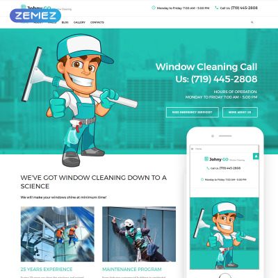 """Joomla Vorlage namens """"Pure Glass - Window Cleaning Services"""" #65777"""
