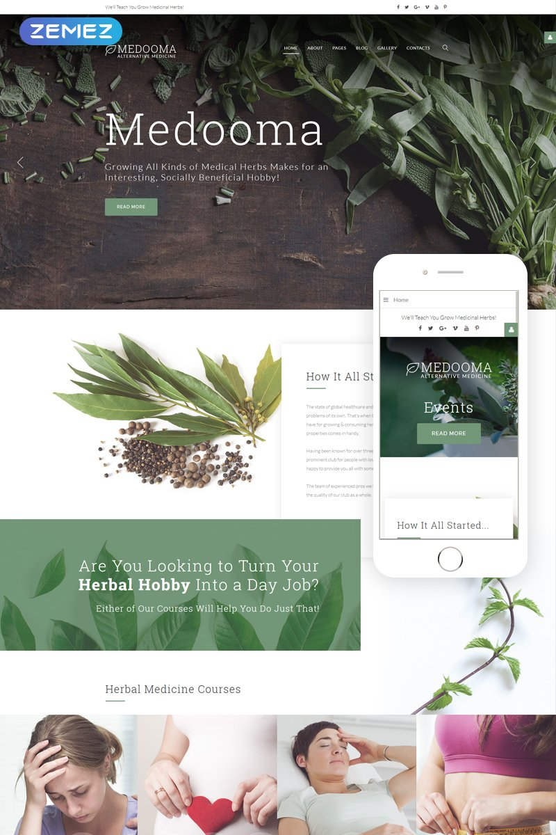 """Medooma - Alternative Medicine"" 响应式Joomla模板 #65764"