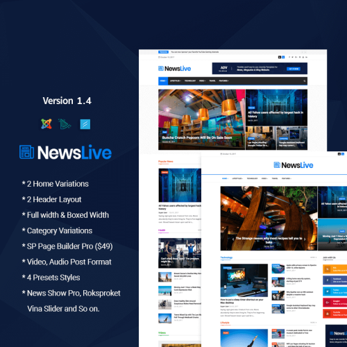 Newslive - Responsive News Magazine - Joomla! Template based on Bootstrap