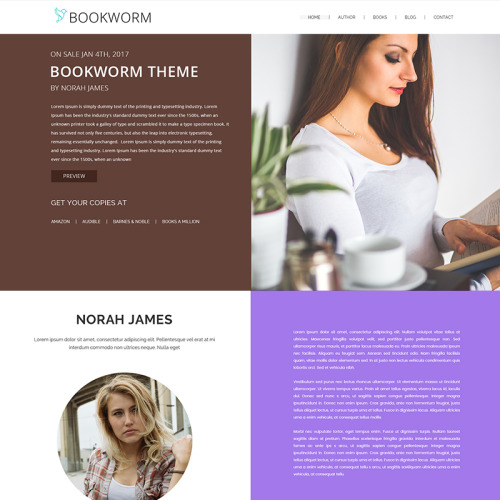 NF Book Worm - FullScreen Book Authors - WordPress Template