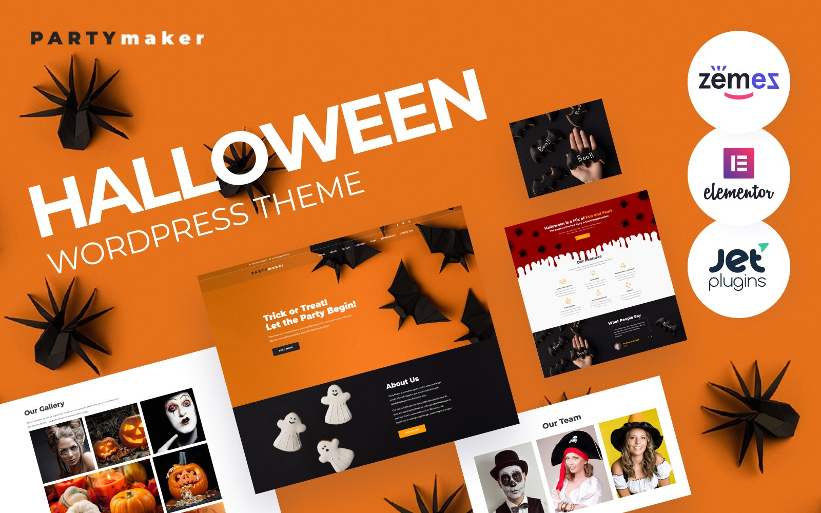 """PartyMaker - Halloween Party"" - адаптивний WordPress шаблон №65776"