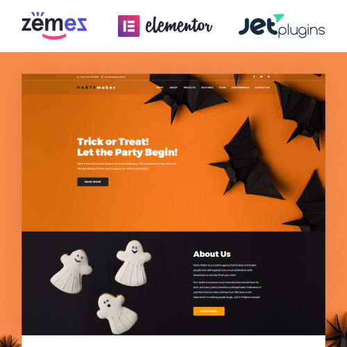 PartyMaker - Halloween Party WordPress Theme - WordPress Template based on Bootstrap