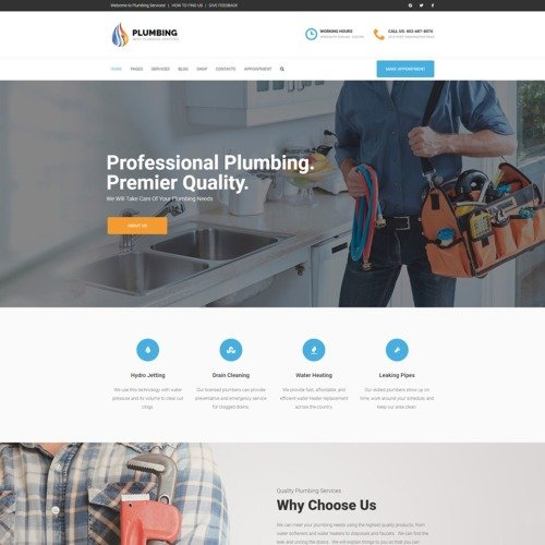 Plumbing - Home Maintenance Agency - WordPress Template based on Bootstrap