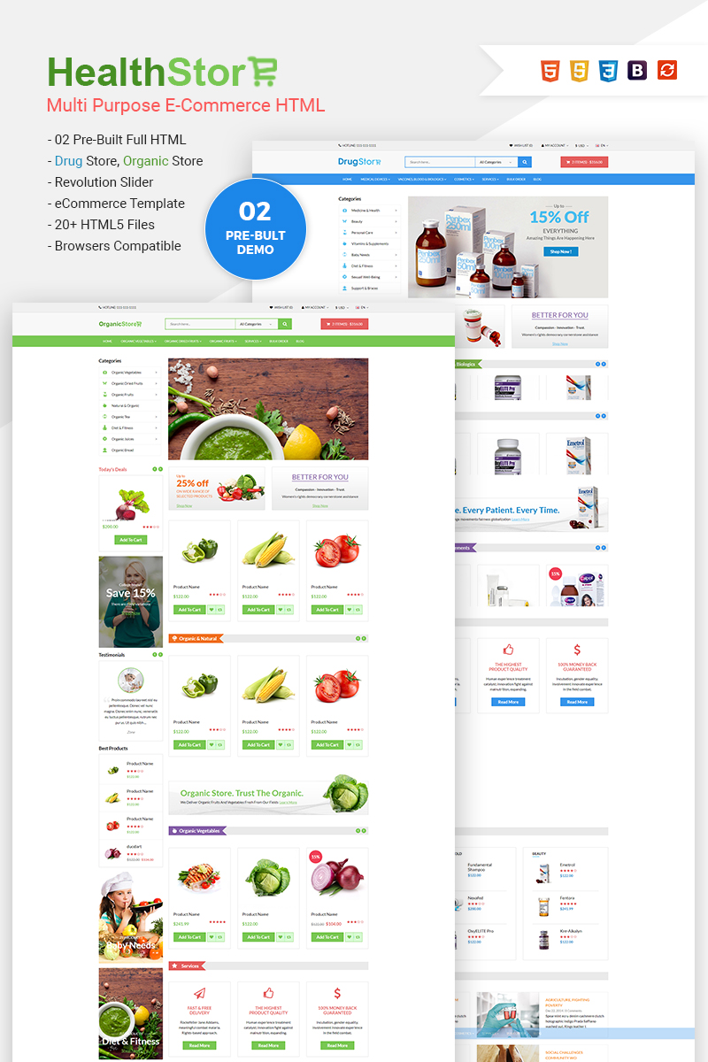 Responsive Health Shop - Multi Purpose eCommerce Web Sitesi #65772