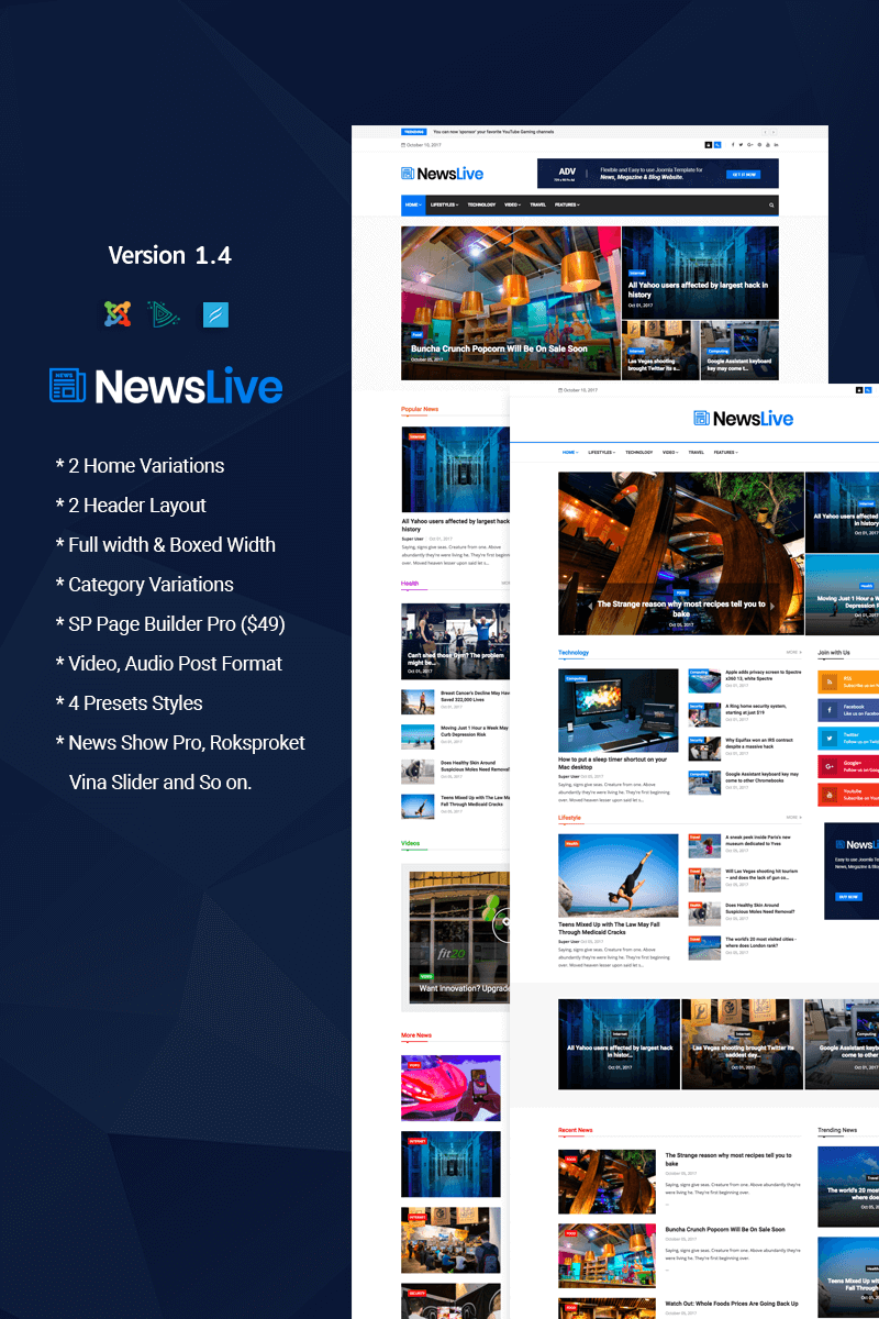 Responsive Newslive - Responsive News Magazine Joomla #65707