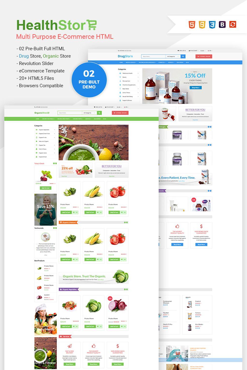 Reszponzív Health Shop - Multi Purpose eCommerce Weboldal sablon 65772