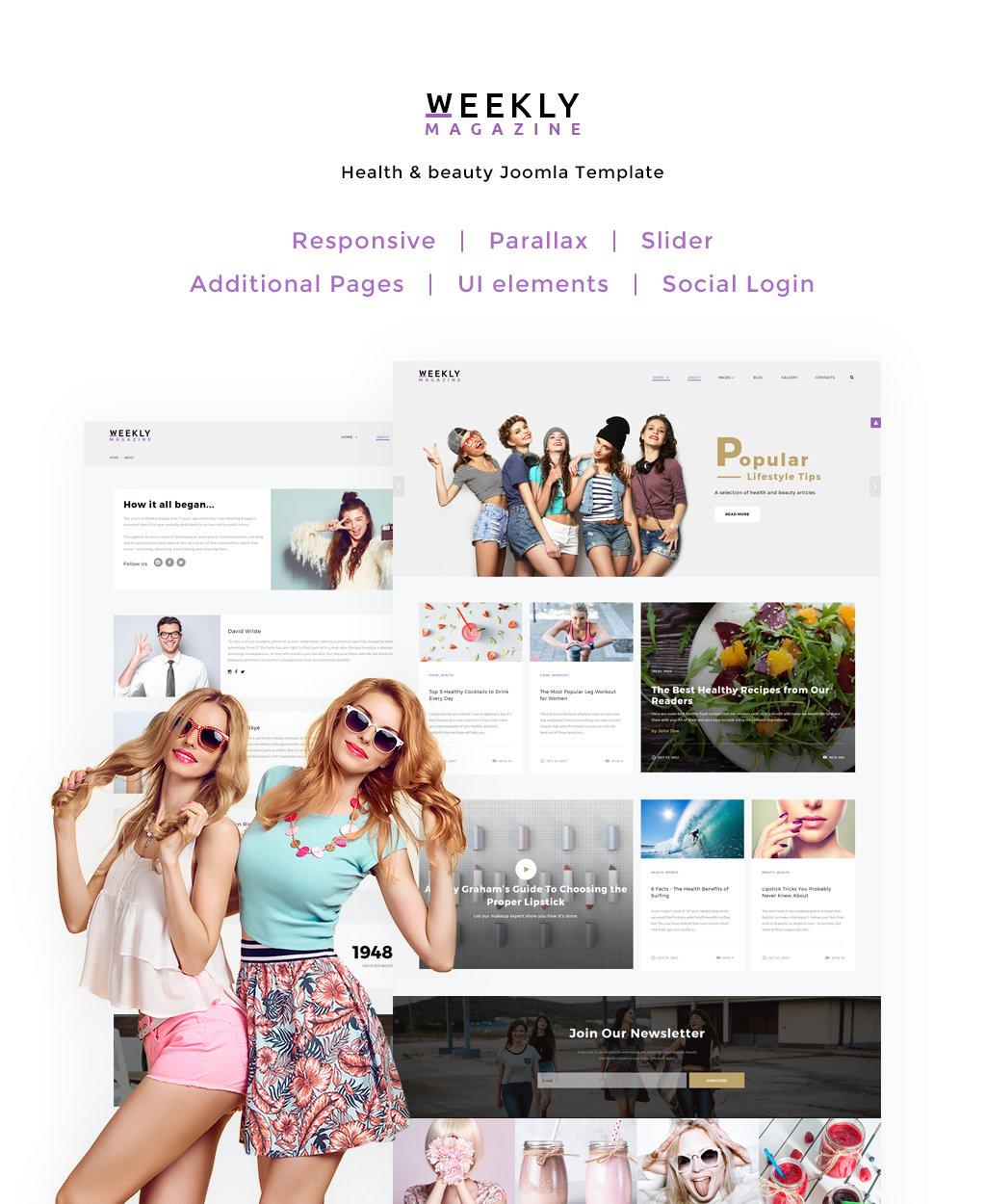 Reszponzív Weekly Magazine - Health & Beauty Joomla sablon 65713 - képernyőkép