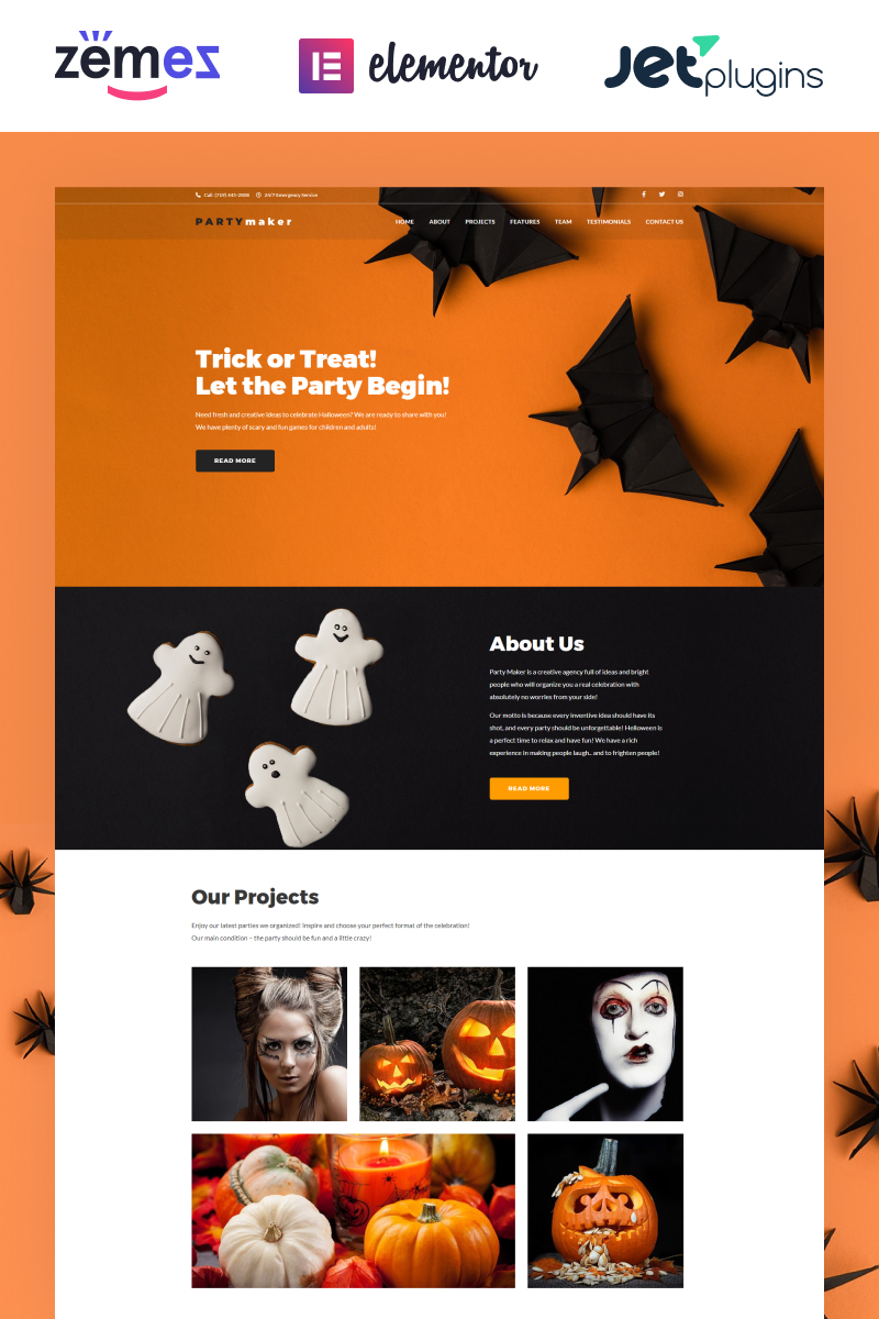 "Template WordPress Responsive #65776 ""PartyMaker - Halloween Party"""