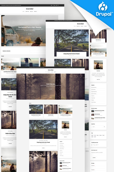 Traveler - Travel Blog Premium Drupal Template #65735