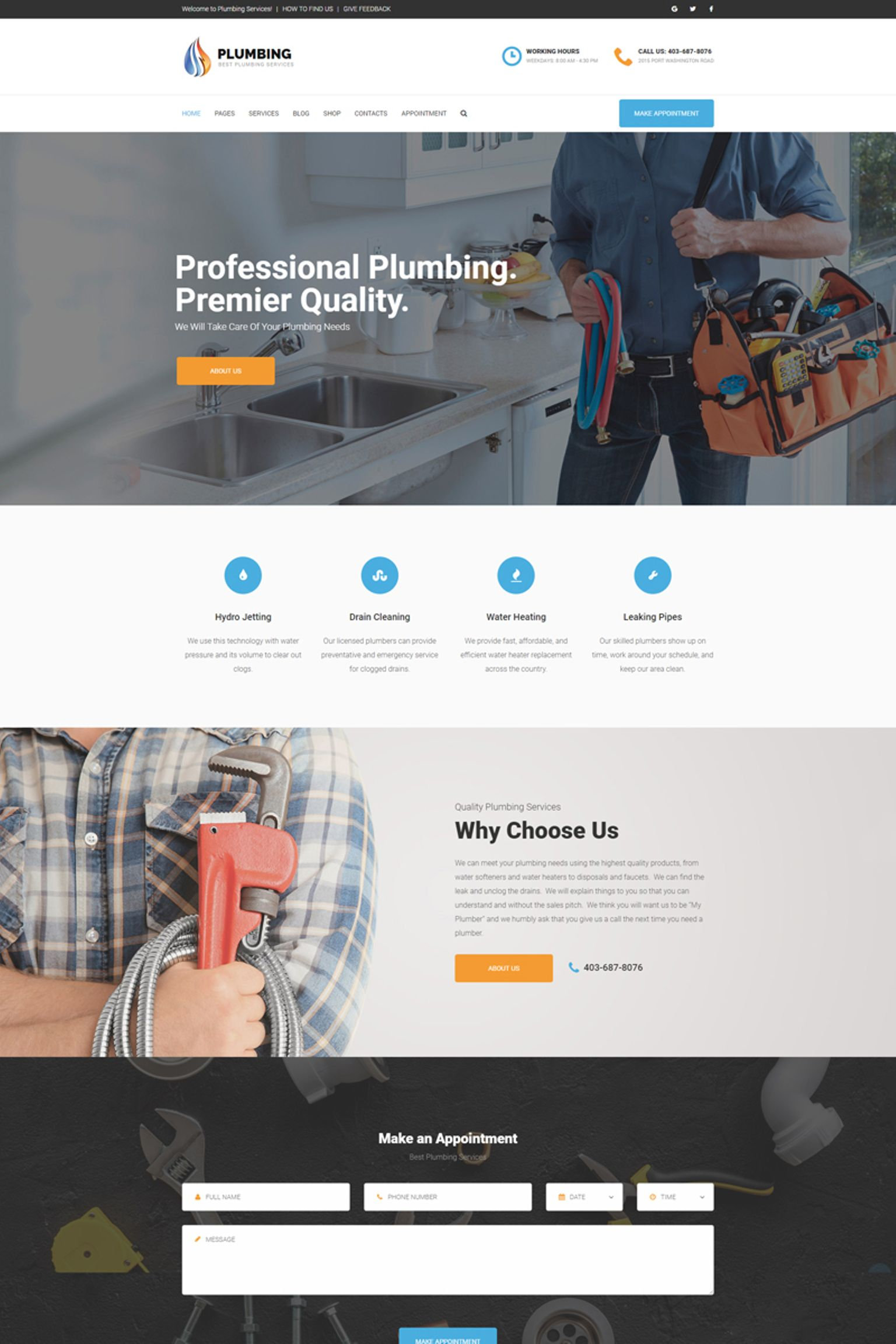 "WordPress Theme namens ""Plumbing - Home Maintenance Agency"" #65770"