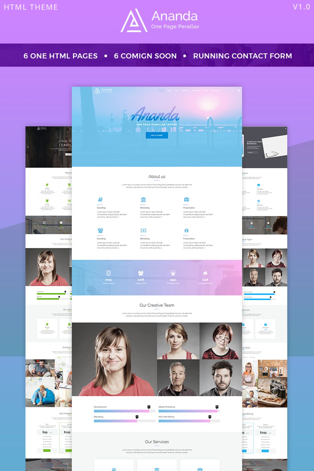 Ananda - One Page Parallax Website Template - screenshot