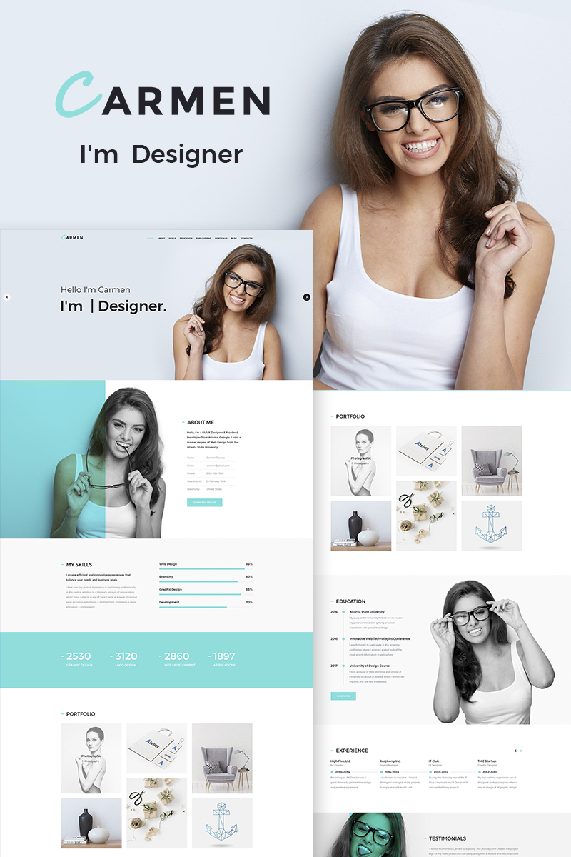 """Carmen Design Portfolio"" Responsive WordPress thema №65886"