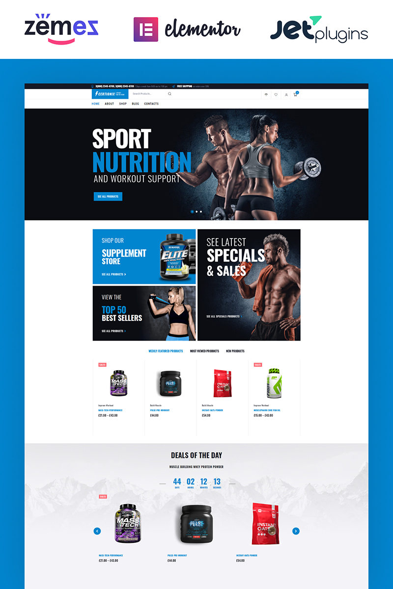 """Certionix- Sport Nutrition Website Template with Woocommerce and Elementor"" 响应式WooCommerce模板 #65870"