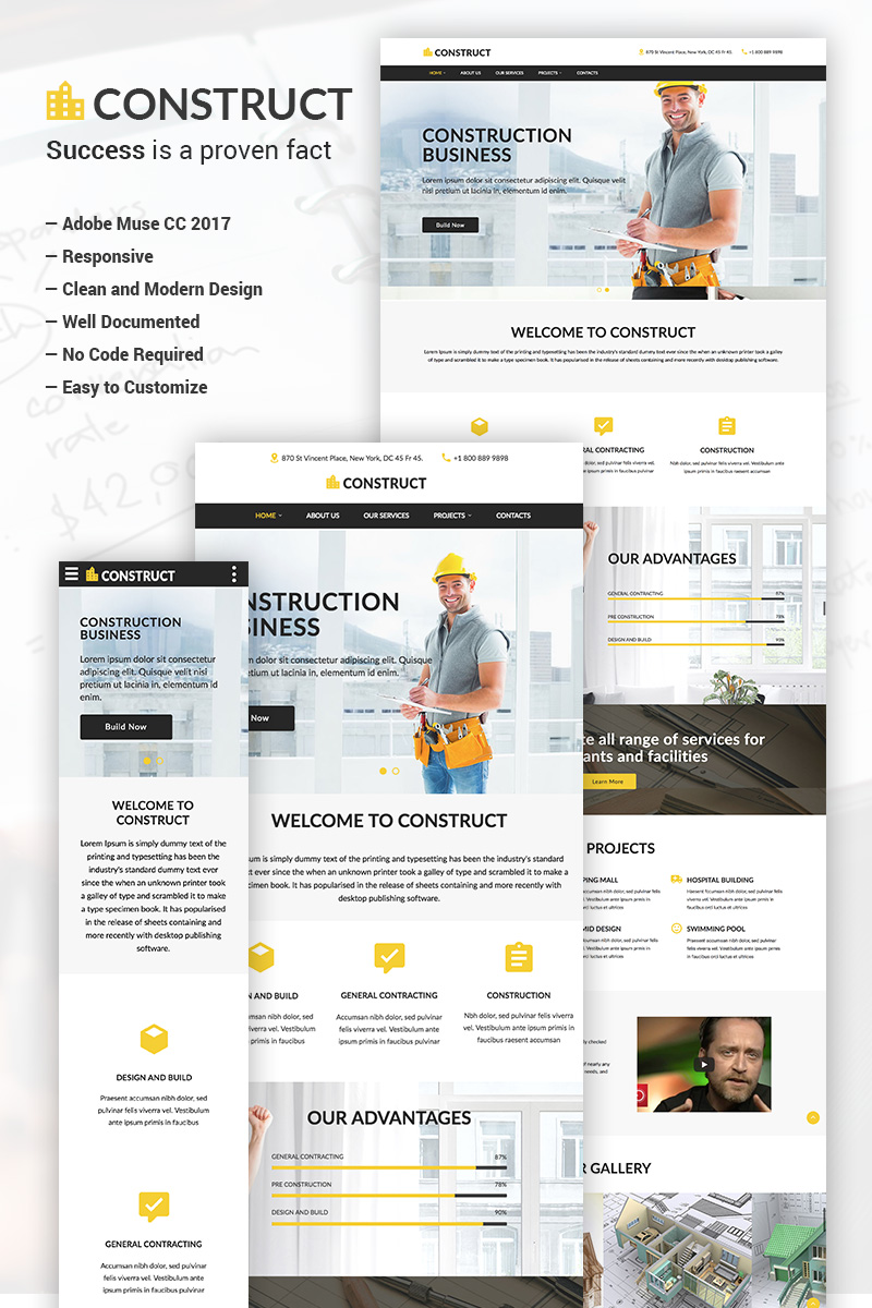 """Construct - Construction Business Adobe CC 2017"" modèle Muse adaptatif #65837"