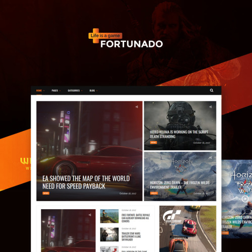Fortunado - Gamer Responsive - WordPress Template based on Bootstrap