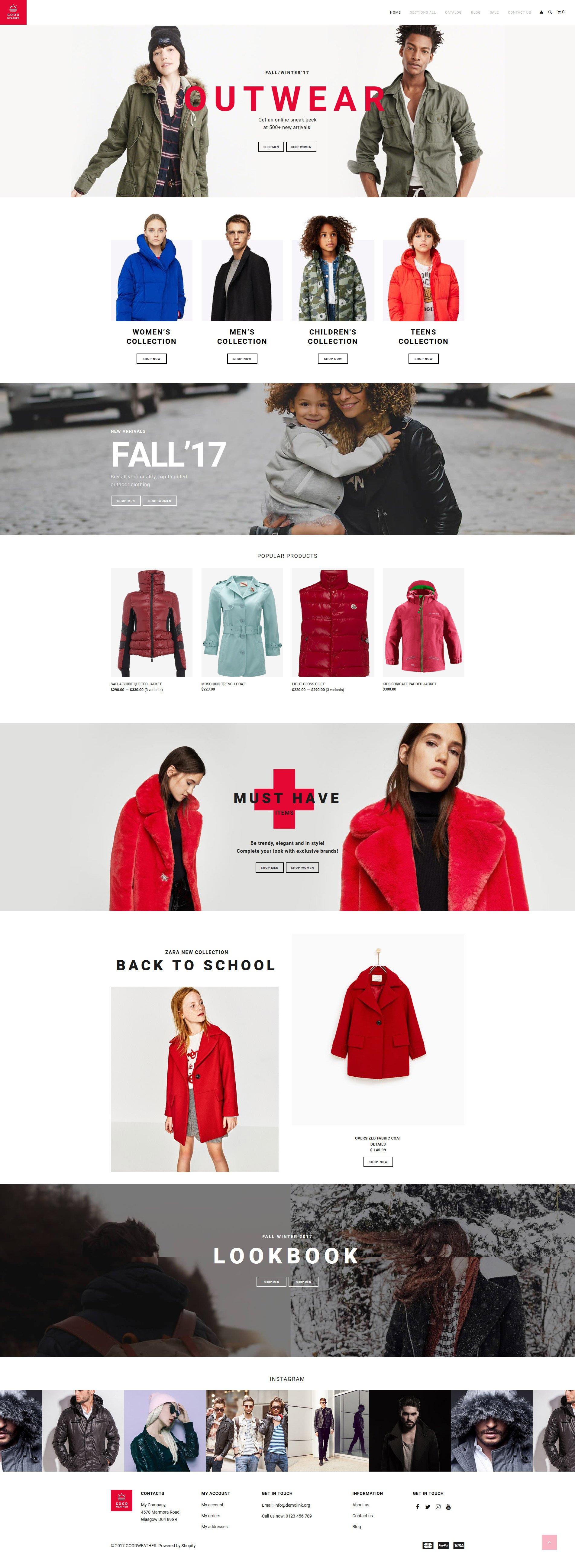 GoodWeather - Outdoor Clothing Shopify Theme - screenshot