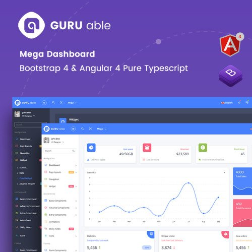 Guru Able Bootstrap 4 + Angular 4 Pure Typescript Version - Admin Template based on Bootstrap