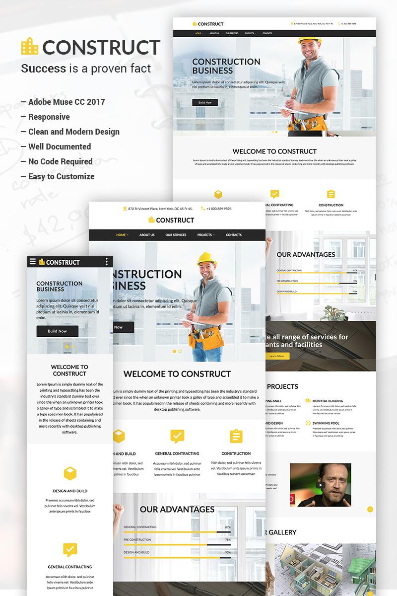 "Modello Muse Responsive #65837 ""Construct - Construction Business Adobe CC 2017"""
