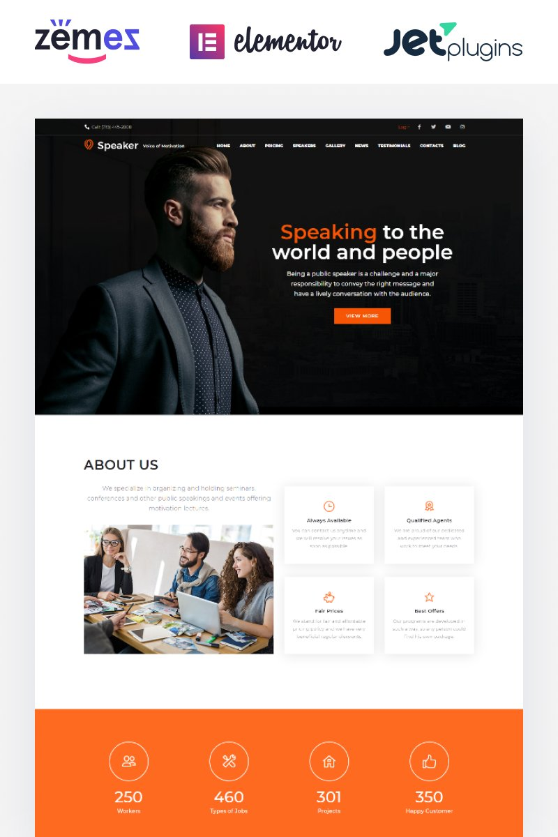 "Modello WordPress Responsive #65846 ""Speaker - Life Coach"""