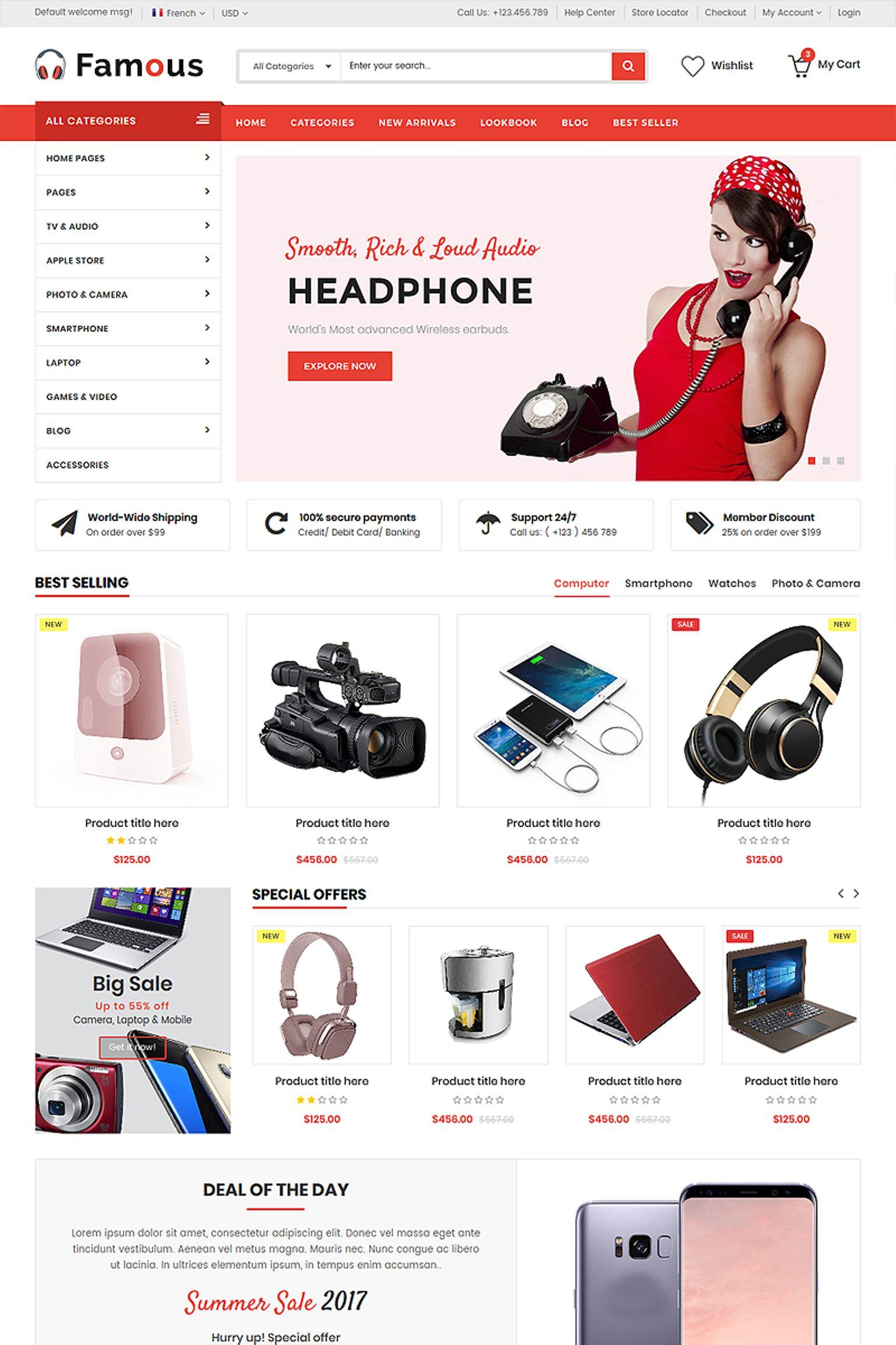"Plantilla Web ""Famous - Electronics Store HTML5"" #65867"