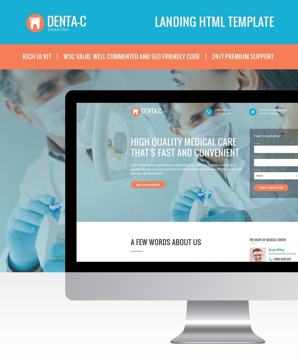 Responsivt Denta-C Dental Clinic Landing Page-mall #65802 - skärmbild