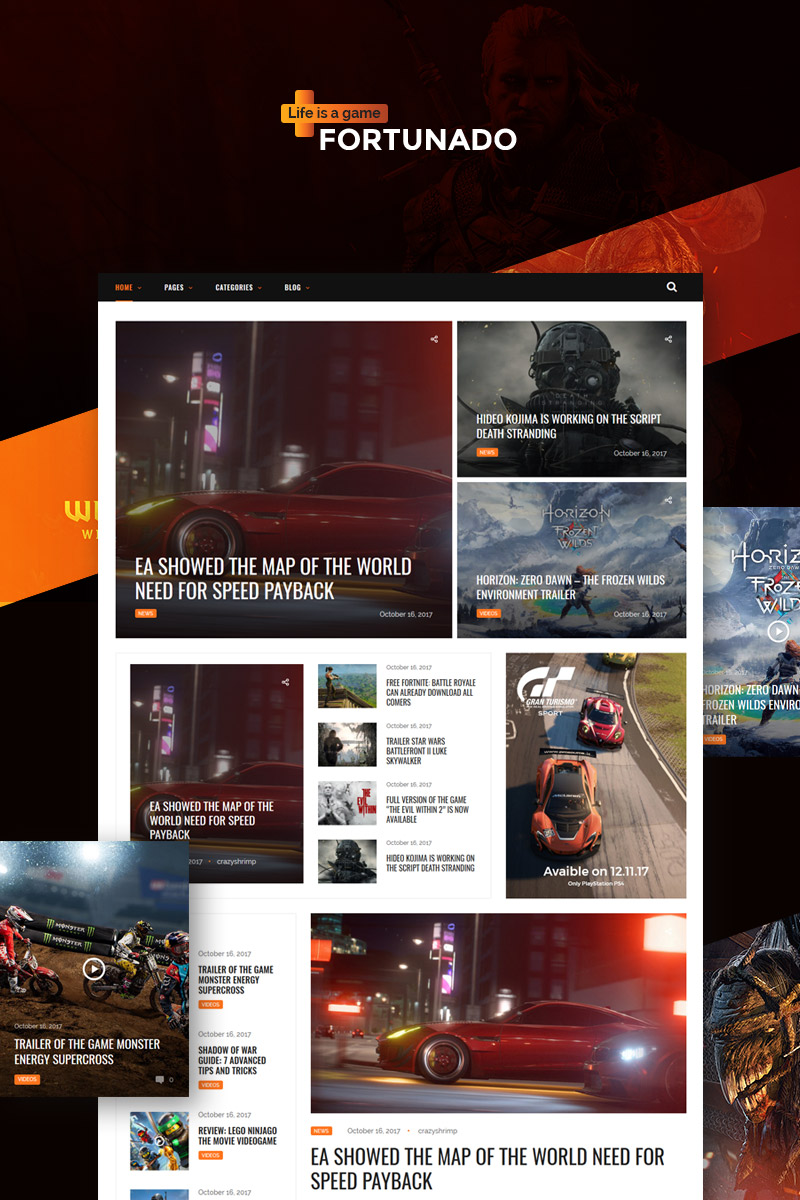 Responsivt Fortunado - Gamer Responsive WordPress-tema #65890